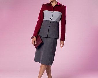 Butterick Sewing Pattern B6286 Misses' Colorblock Jacket and Skirt