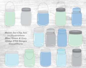 Mason Jar Clipart PNG Images Digital Canning Jars Blue Green Gray Craft Canning Jars For Scrapbooking Invitations Card Making Graphic Design
