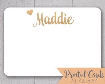 Foiled Name Note Cards - 24pk, Personalized Flat Note Cards, Real Foiling Printing without Envelopes (NC-015-F)