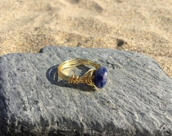Size N Sodalite Gemstone wire wrapped ring