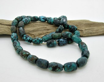 Genuine Turquoise Small Faceted Barrel Beads, Hubei Turquoise, Natural Turquoise, 9x5mm (5)