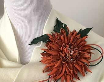 Orange Chrysanthemum Flower Leather Brooch.