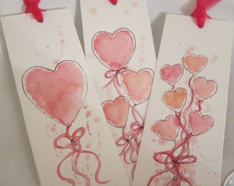 Watercolour Bookmarks, Set of 3, Heart bookmarks, watercolour, Valentine gift, birthday gift, book accessory, bookmarks, handpainted