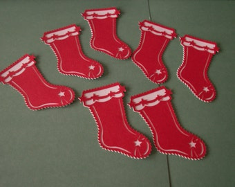 7-red Christmas stocking die cuts, die cuts, holiday stockings, red and white stockings.