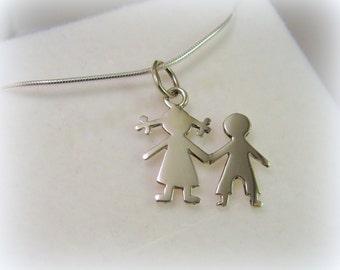 Silver girl and boy pendant