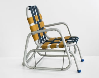 vintage aluminum child's rocking chair, vintage child's lawn chair, vintage lawn chair, child's vintage rocking chair, midcentury chair