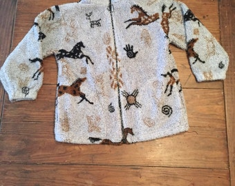 Youth Horse Print Fleece Jacket