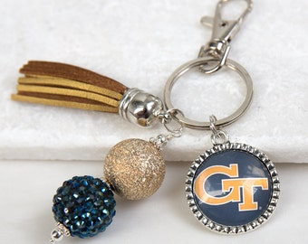 Georgia Tech Key Chain, Georgia Tech, Yellow Jackets, Georgia, Blue and Gold, Game Day Key Chains, College Gifts, Graduation Gifts