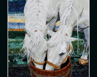 Card Textile Art with Horses (C03)