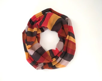 Brown Infinity Scarf, Mustard Scarf, Fall Scarves, Striped Infinity Scarf, Gift For Girlfriend, Women's Fashion, Ladies Scarf