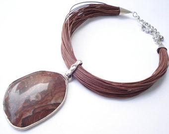 Multi Strand Brown Cord Necklace Big Vintage Jasper Pendant Choker Statement Unique Necklace