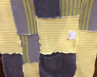 Yellows and grey recycled sweater baby blanket