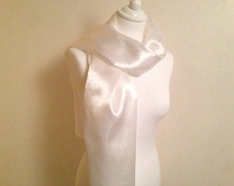 Scarf white satin wedding/party/christening/cocktail/Christmas/holiday season