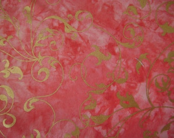 Batik Wine Gold Scrol  Cotton Fabric by the yard