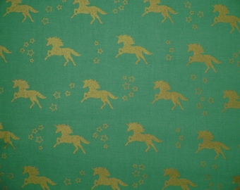 Unicorn Turquoise Gold Metallic Cotton Fabric Sold by the yard