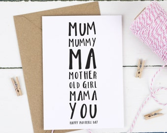 """Card for Mum - Mum Birthday Card - Mothers Day Card - Personalised Mum Card - """"Mum's Names"""" Card - Personalised Mother's Day Card"""