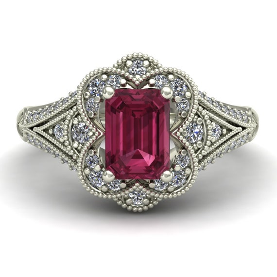 pink tourmaline engagement ring emerald cut by