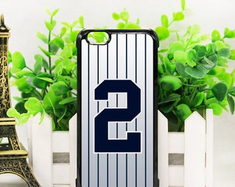 Custom New York Yankees #2 Derek Jeter iPhone 6/6s, New No Edge Super-Thin phone case with Screen Protector!!