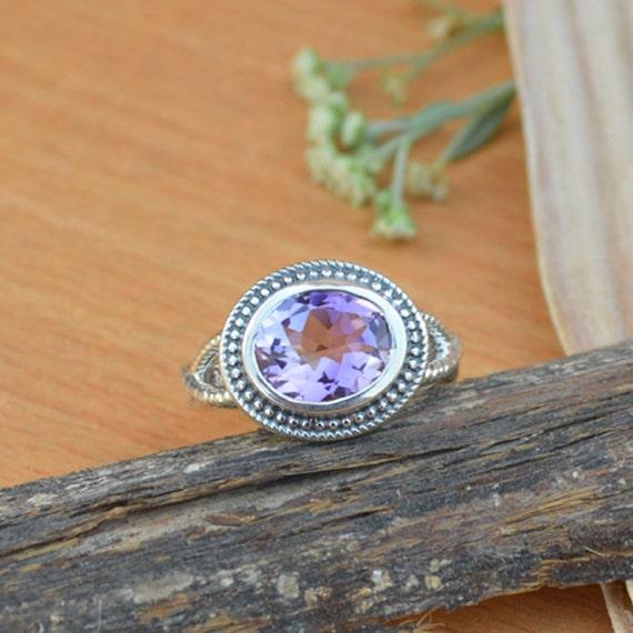 Amethyst Ring, Purple Gemstone Ring, Natural Amethyst Ring Size 8, Gemstone Ring, 925 Sterling Silver Ring, February Birthstone Ring