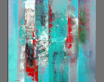 Abstract painting Abstract Original Contemporary Painting 60X60 cm / 23.6 x 23.6 inches Square Green, blue, turquoise, red