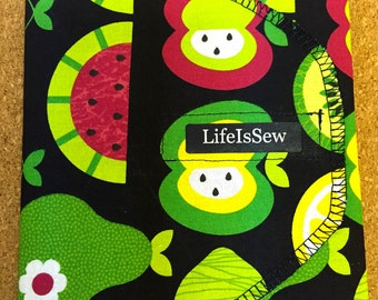 Reusable Cloth Snack Bag: Playful Fruits with Nylon Liner- Medium