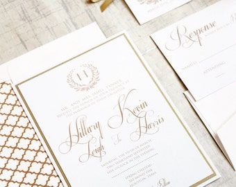 Gold Wedding invitations, Gold and Ivory Wedding Invitation, Elegant Wedding Invitation, Wedding Invitations, Gold, Cream, Elegant, DEPOSIT