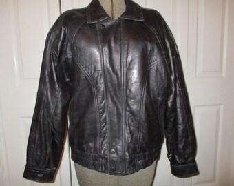 Vintage Christian Dior black leather bomber size 40