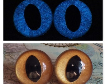 21mm Glow In The Dark Cat Eyes, Metallic Golden Brown Safety Eyes With Blue Glow, 1 Pair of Plastic Safety Eyes