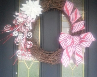 Holiday Wreath.  Candy Cane. Grapevine.