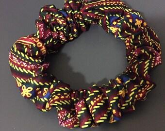 Chouchou taille XL tissu africain wax pour dreadlocks cheveux afro rasta ethnique motifs géométriques original fantaisie