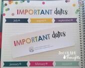 Important Dates Header for Erin Condren Teacher Planner