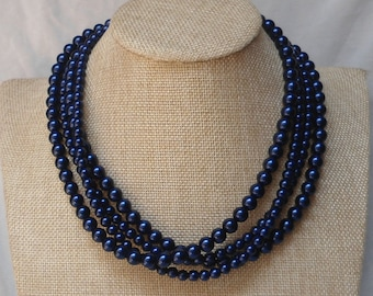 Navy Blue Pearl Necklace,4 Strands Pearl Necklace,Wedding Jewelry,18 Inches Glass Pearl Necklace,Bridesmaid necklace,Pearl Necklace,Jewelry,
