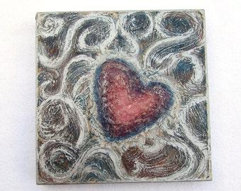 Hearts--Original Painting on Wood Block--Textured Art--Metallic Silver-Red-Blue--Hearts Wall Decor--Love--Romantic Art--House Gift.
