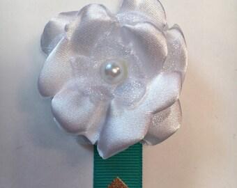 White Fabric Flower Bookmark