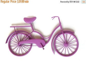 End of Summer Sale Metal Bicycle Wall Art - Beach Cruiser Wall Hanging - Shabby Chic Wall Art - Beach Decor - Radiant Orchid - Shabby Chic D