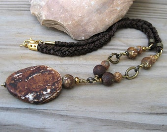 Rustic brown necklace Gemstone necklace Earthy necklace Boho necklace Agate necklace Primitive jewelry Rustic necklace Gemstone pendant