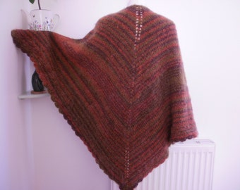 Knitted Mohair Shawl, Earth Colour Shawl, Autumn Colour Shawl, Brown Burnt  Orange Green