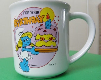 Vintage Collector Smurfette For Your Birthday Mug - 1982