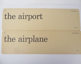 Retro The Airport The Airplane Flash Cards - Vintage Vocabulary Word Flash Cards