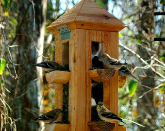 Handmade rustic cypress wood bird feeder - finch feeder and cardinal bird feeder - use as hanging bird feeder or can be post mounted