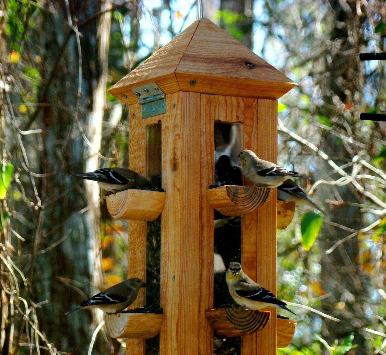 Handmade rustic cypress wood bird feeder finch feeder and for Unique homemade bird feeders
