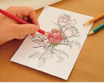 5 Quality Postcards on 350gsm cardstock- Floral Design for Adult Coloring