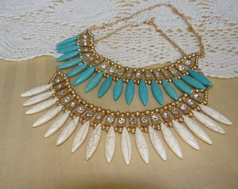 Teal or White Statement Necklace (only 1 of each color available)