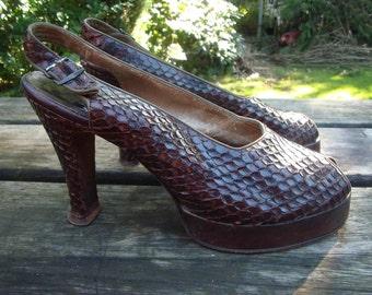 REDUCED- Original Brown 1940's / WW2 Snakeskin Wedge Slingbacks UK Size 5 1/2 or 6, USA 7.5