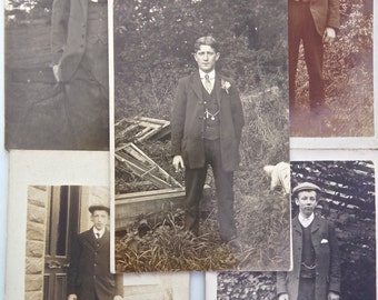 Pack of 5 Vintage Portrait Photograph Postcards of 1900s to 1920s Men - Edwardian and Victorian Postcards - Gentleman Costume Fashion Suits