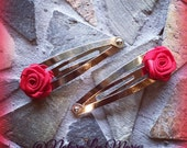 Red Rose Floral Snap Clip Set