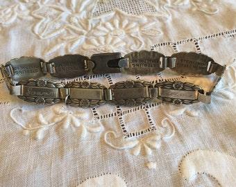 """Vintage Sterling Forget Me Not Friendship Bracelet, 7 1/2"""", 10 Links"""