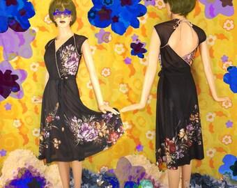 Sheer Black Floral Open-Back Dress *70s* Small Medium Feminine Painterly Flowers Flared Skirt Wrap Tie Belt Cap Sleeves Piping V-Neck Pretty