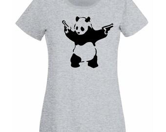 Womens T-Shirt with Banksy Street Art Graffiti Design / Panda with Pistols Shirts / Bear with Guns Tee Shirt + Free Random Decal Gift