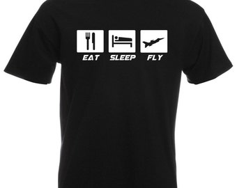 Mens T-Shirt with Quote Eat Sleep Fly Design / Plane Airplane Inspirational Shirts / Aircraft Airforce Hawx Shirt + Free Decal